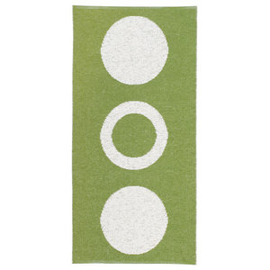 Circle Woven Vinyl Floor Cloth, Green, 150x150 cm