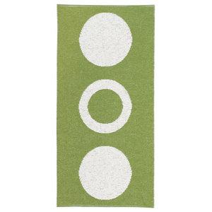Circle Woven Vinyl Floor Cloth, Green, 150x200 cm
