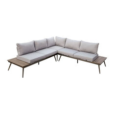 Furniture of America Eryna Patio Sectional, Brushed Champagne
