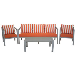 Outdoor 4-Piece Acapulco Furniture Set With 3-Seater Sofa, Silver