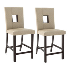 CorLiving   CorLiving Bistro Counter Height Dining Chairs In Woven Cream  Fabric, Set Of 2