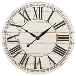 Aspire Home Accents - Renata Oversize Shiplap Wall Clock - This oversized shiplap clock will be an eye-catching accent for your space and brims with farmhouse style. Measuring 4 feet wide in diameter, it's the perfect addition for your mantle or as the centerpiece of your living room wall. The distressed finish gives it the ideal aged feeling while bold numerals make it easy to read.