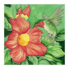Hummingbird With 1 Big Flowers Tile