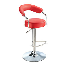 Pinnacle Stainless Steel Faux Leather Adjustable Bar Stool, Chrome, Red