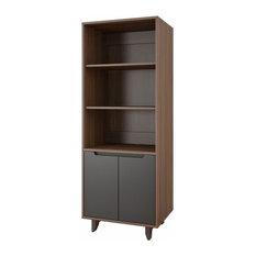 Nexera Alibi 3 Shelf Bookcase, Charcoal