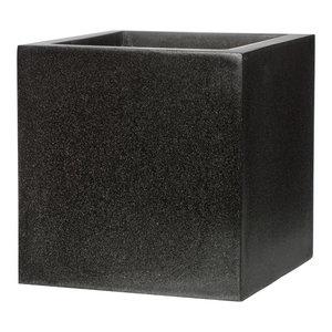 Square Fiberstone Contemporary Black Planter, 40x40x40 CM