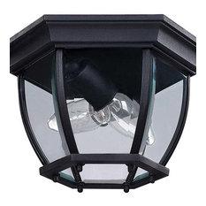 """Canarm IOL60 Foyer 2 Light 6-7/8""""W Outdoor Flush Mount Ceiling - Black"""