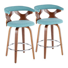 Gardenia Mid-Century Modern Counter Stool, Teal Fabric, Chrome, Set of 2