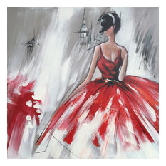International Image & Canvas - Abstract Hand Painted Dancing Girl in Red Dress II Oil Painting - Paintings