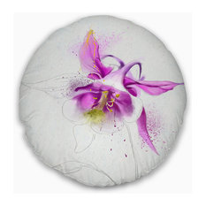 """Purple Aquilegia Watercolor Sketch Floral Throw Pillow, 20"""" Round"""