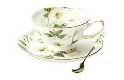 Bone China Flower Cup, Saucer and Spoon, 3-Piece Set
