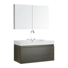 "Fresca Mezzo 39"" Gray Oak Modern Bathroom Vanity With Medicine Cabinet"
