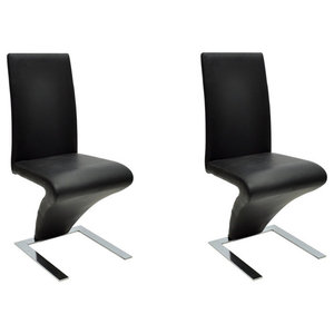 vidaXL Set of 2 Faux Leather Iron Dining Chairs, Zigzag Shape, Black