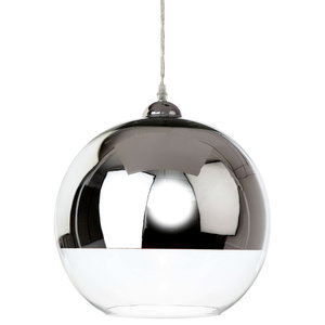 Club Glass Sphere Pendant, Chrome