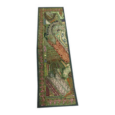 Mogul Interior - Consigned Antique Fabric, Golden Embroidered Green Sari Patchwork Tapestry - Table Runners