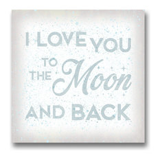 I Love You to the Moon Wall Art, Baby Nursery Decor, Kid's Art., 24 X 24