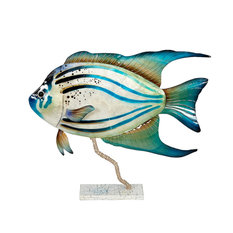 Metal and Capiz Art, Tropical Fish on Stand