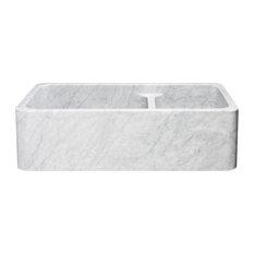 "36"" Farmhouse Kitchen Sink, Double Bowl, Reversible, Carrara Marble"