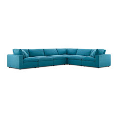 Modern Contemporary Urban Living Sectional Sofa Set Aqua Blue