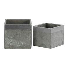 Cement Square Flower Pots, Banded Rim Top, 2-Piece Set, Concrete Gray, Silver