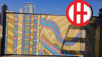 Contemporary Art Deco DTLA Rooftop Mural