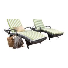 GDF Studio Savana Outdoor Wicker Lounge, Cushions Green, Set of 2