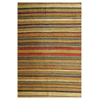 Hand Woven Sindhi Green Jute Rug Modern Rugs By