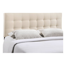 Modern Contemporary Queen Size Fabric Headboard, Ivory Fabric