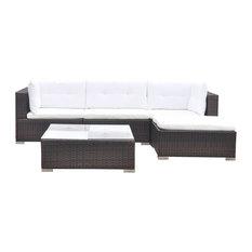 vidaXL Garden Sofa Set 14 Pieces Poly Rattan Brown