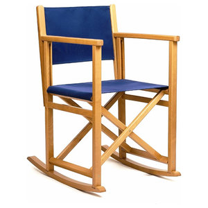 Rocking Chair B, Blue, Natural Frame