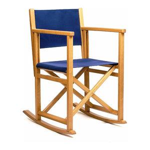 Rocking Chair B, Blue, Natural Frame