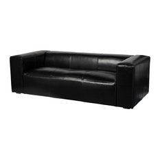 Lenyx 88-inch Top Grain Leather Sofa Distressed Black