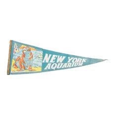 "Consigned, Vintage York Aquarium Felt Flag Banner, 9""x26"""