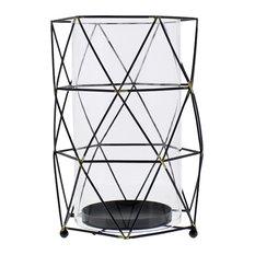 Midcentury Modern Metal Cage Candle Hurricane, Prism Shape Retro