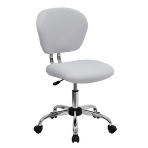 Flash Furniture Mid-Back White Mesh Task Chair With Chrome Base