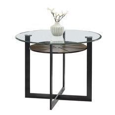Olson Counter Height Dining Table - Glass, Dark Metal Base, Medium Brown