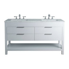 "60"" Rochester Double Sink Vanity, Marble Carrara White Top, White"