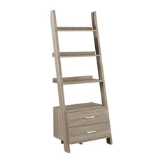 Bookcase Ladder With 2 Storage Drawers, Dark Taupe