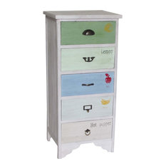Tall Narrow Multicoloured Chest of Drawers