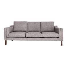 Monroe Modern 3-Seater Sofa Premium Fabric Deco Gray Material: Twill