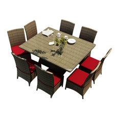 Hampton 9 Piece Modern Wicker Dining Set, Heather Wicker and Ruby Cushions