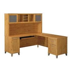 Bush Furniture Somerset 72W L Shaped Desk with Hutch in Maple Cross