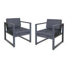 GDF Studio Wally Outdoor Aluminum Club Chairs, Dark Gray/Black, Set of 2