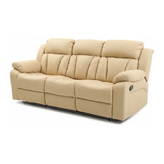 Glory Furniture   Springfield Reclining Sofa, Beige Faux Leather   Sofas