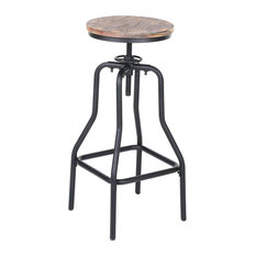 Industrial Bar Stool With Black Metal Frame and Pine Wooden Top, Swivel Design