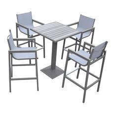 Marina Outdoor Patio Set, Gray/Wood Top