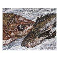 "Fish Drawing, Original Wall Art by Olena Baca, 11""x14"""