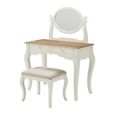 Riverbay Furniture Two Tone Wood Vanity Set with Mirror in White