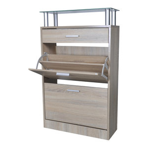 VidaXL Shoe Cabinet With Drawer and Top Glass Shelf, Oak Look