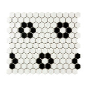"10.25""x11.75"" Victorian Hex Matte White With Black Dot Mosaic Tiles, Set of 10,"